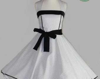 50's vintage dress full skirt white black polka dots perfect for a petticoat wedding Tailor Made