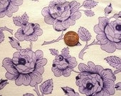 lavender and purple rose print full vintage feedsack fabric