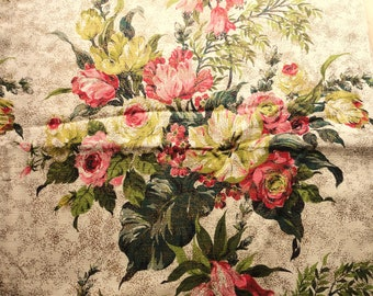 rose and green floral bouquets vintage cotton barkcloth fabric -- 46 wide by 2 1/2 yards