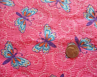 butterflies on pink plisse vintage cotton blend fabric -- 45 wide by 1 yard