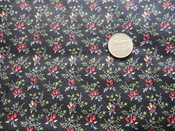 SALE :) tiny red and gold flowers on black cotton blend vintage fabric -- 44 wide by 1 1/2 yards