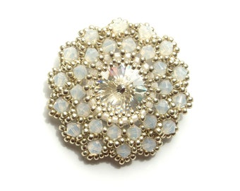 Brooch, Beaded, Swarovski Crystal, White Opal Statement Brooch, Handbeaded