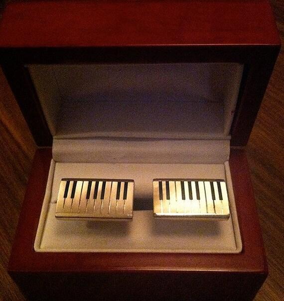 Original Vintage Stunning SWANK Mother-of-Pearl Piano Key Cufflinks
