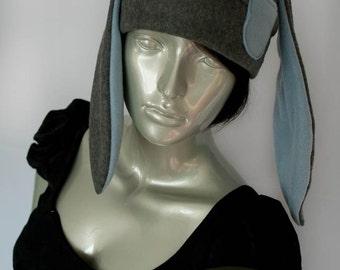 Gray Bunny Fleece Hat