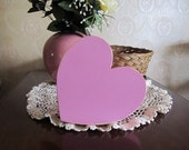 Shabby Chic Rustic Wooden Heart Wedding Bridal Shower Gift Decor Distressed Painted Wood Heart Engagement Photo Prop Kids Room Petal Pink