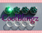 EMERALD GREEN Crystal Screw Caps Covers for Rhinestone Bling License Plate Frame made w/ Swarovski Elements