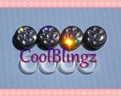BLACK DIAMOND Crystals on BLACK Screw Caps Covers for Rhinestone Bling License Plate Frame made w/ Swarovski Elements