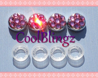 PINK Crystal Screw Caps Covers for Rhinestone Bling License Plate Frame made w/ Swarovski Elements