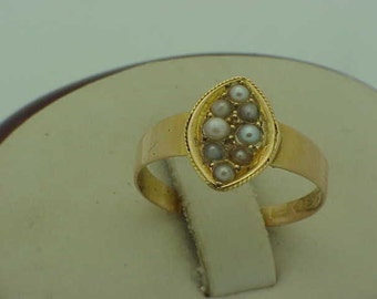 15K Antique Vintage Victorian Pearl & Gold Ring, 1800s