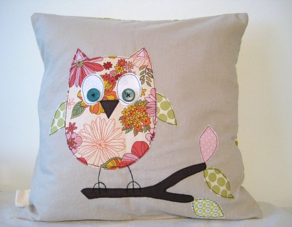 """Owl cushion cover, pink and green, woodland, free motion applique, Amy Butler cotton and linen. 40cm / 16"""""""