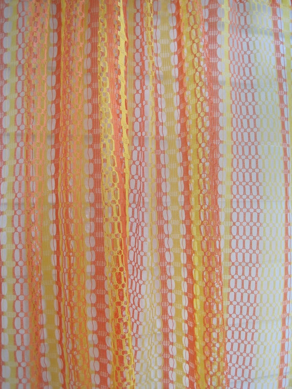 Vintage Mesh Curtain Material, Bright Citrus Yellow Pink and Orange Open Weave Curtain Material