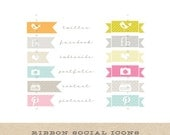 Banner Social Network Icons - design elements to decorate your creative or photography blog - INSTANT DOWNLAOD