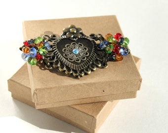 Bronze Heart Bracelet with Multicolor Glass Beads, One Of A Kind