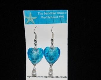 Aqua foil glass bead earrings