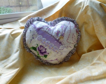 Lovely Heart Pillow with Vintage Hankies and Trim