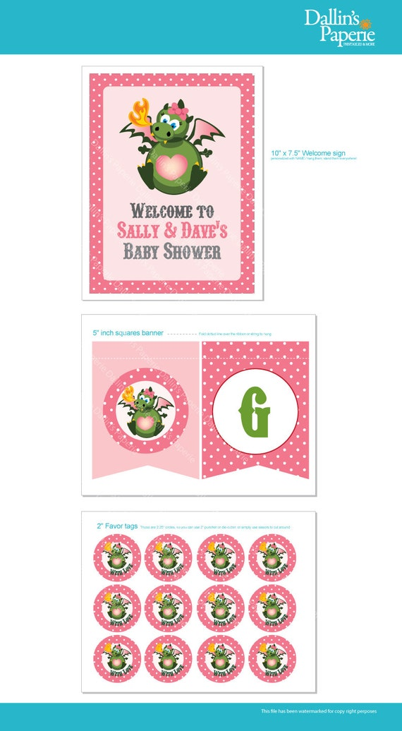 Dragon Baby Shower for a Girl -  DIY Printable - Customized Collection - Favor tag - sign poster - banners