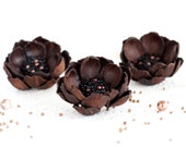 Leather flower, hair accessories, flower hair accessories, gift for her, Brown brooch, leather flower hair clip, brooch.