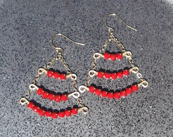 Ruby Quartz and Gold Triple Row Dangle Earrings