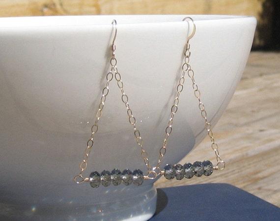 Black Diamond Swarovski & Gold Triangle Chain Dangle Earrings