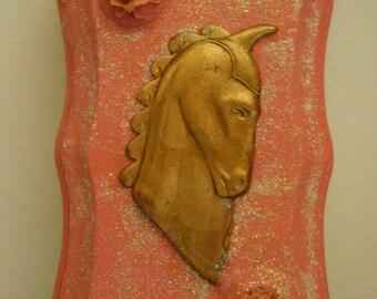 Small Peach Unicorn Plaque