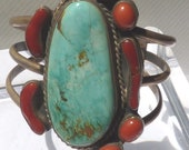 Large Navajo Silver Bracelet Signed Jimmy Williams 78 Turquoise Coral 3 Ring BlazeTwo