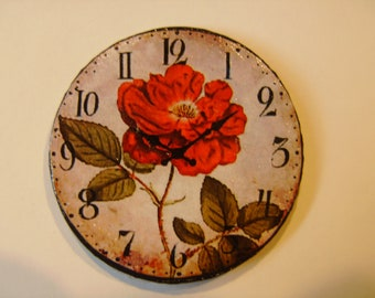 "Dollhouse Miniature Wall Clock ""Wild Scarlet"", Scale One Inch"