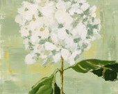 Hydrangea Flower Still Life Painting, Original Oil on wood panel 12x12 inch wall art