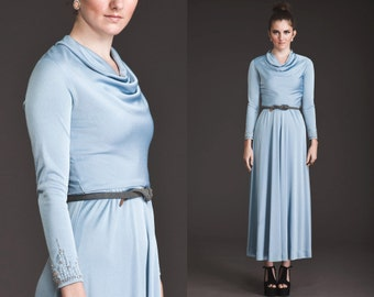 Vintage 60s 70s Maxi Cowl Neck BEADED WRISTS Dress// Grecian // Draped//Ice Blue//Navajo arms//30s//Art Deco