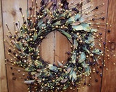 LARGE Spring Wreath, Spring Home Decor, Front Door Wreath, Summer Wreath, Summer Home Decor, RUSTIC BROWNSTONE Leaf Berry Door Wreath