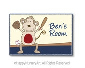 Baseball theme door sign, kids door plaque, personalized sign, nursery art, monkey, red, navey blue, baby boy room sign, sports