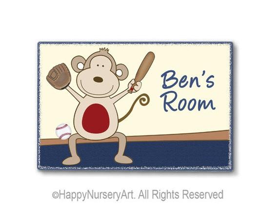 Baseball theme door sign, kids door plaque, personalized sign, nursery art, monkey, red, navey blue, baby boy room sign, sports