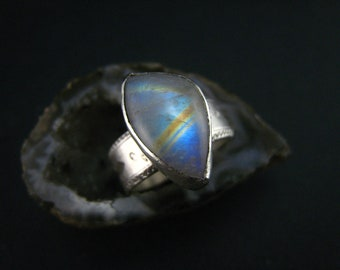 genuine moonstone and  fine Silver ring