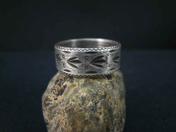 oxidized fine silver ring,size 8
