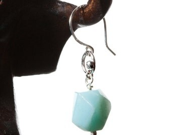 SALE! Amazonite silver earrings: simple faceted nugget pale blue amazonite, sterling silver earrings, everyday jewelry