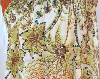 Vintage 1940s 1950s Tropical Scarf or Shawl from Mexico