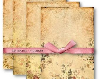 Digital Images - Digital Collage Sheet Download - Vintage Floral Background -  499  - Digital Paper - Instant Download Printables