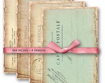 Digital Collage Sheet Download - Vintage Carte Postale Postcards -  505  - Digital Paper - Instant Download Printables