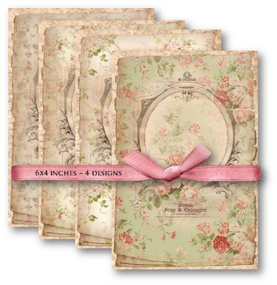 Digital Collage Sheet Download - Shabby Chic Floral Backgrounds -  493  - Digital Paper - Instant Download Printables