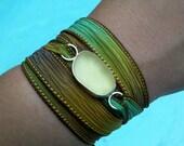 Sea Glass Bracelet,Anklet, Choker, Hand Dyed Silk Ribbon,Silk Wrap, Versatile Jewelry, Summer Jewelry. Beach Wear