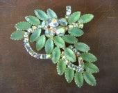 CLEARANCE SALE! Large rhinestone brooch, seafoam green, rhinestone jewelry, green brooch, statement brooch, costume jewelry, large brooch
