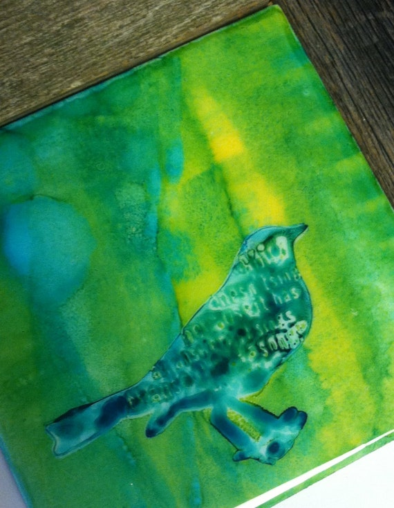 Original Hand-colored Art Tile- Abstract Bird-  unique accent or backsplash tile - blue green yellow- gifts under 10