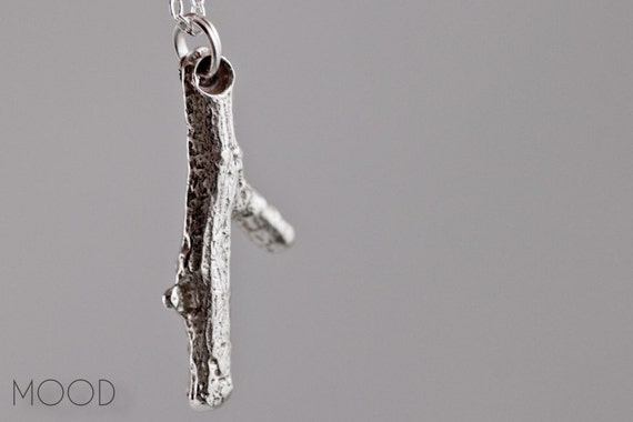 BRANCH 2 - Organic hand cast Sterling Silver real tree branch necklace - one of a kind