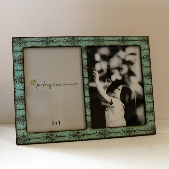 double 4x6 or 5x7 2 photo picture frame turquoise black scroll