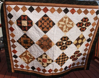 Mosaic Sampler- Black and Tan- Couch Lap Quilt or Wall Quilt- Beautiful Handmade Fall Quilt