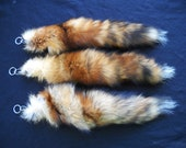 """Real 13""""-14"""" Red Fox Fur Tail Totem Keychain Key Ring Key Fob for Purse, Anime Costume, Etc"""