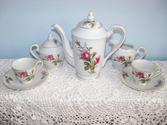 Royal Sealy Moss Rose Tea cup Demitasse or Children's TeaSet
