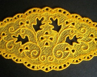 Embroidered Lace Applique, Beautiful Fall Oak Leaves Motif, Yellow Lace