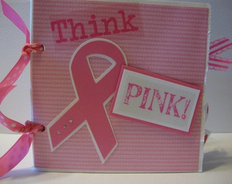 Think Pink Breast Cancer Scrapbook- Paper bag album