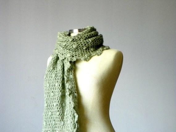 Winter crochet shawl, Everyday Rectangle Shawl Mohair - Green mold, winter - autumn fashion