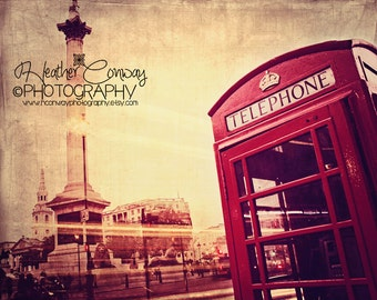 London Red Phonebooth Photograph, Travel Photography, Shabby Chic, London Photo, Red Phone Box Photo, Photo Fine Art Photography
